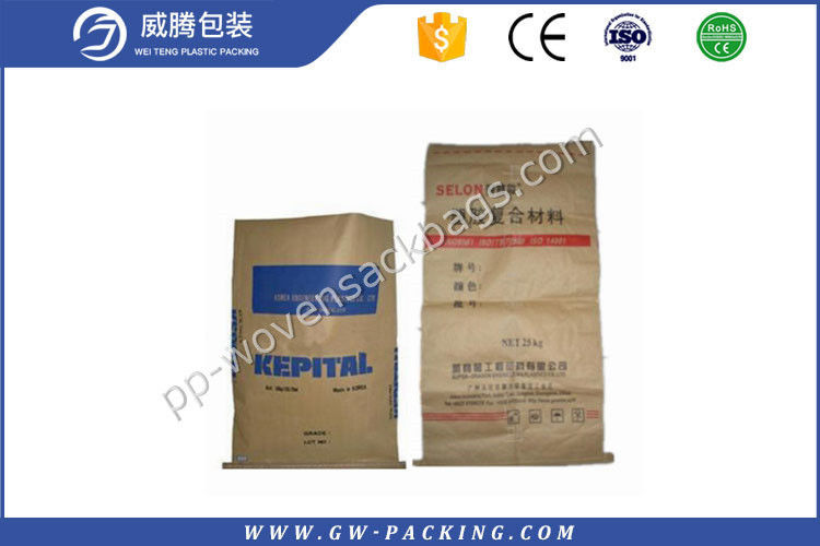 Recyclable Sewn Open Mouth Paper Bags , Brown Paper Bags For Cement Packing